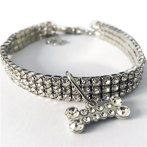 Exquisite Bling Crystal Dog Collar Full Rhinestone Collar for Small Dogs