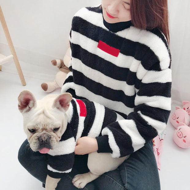 Matching striped shirts for you and your dog