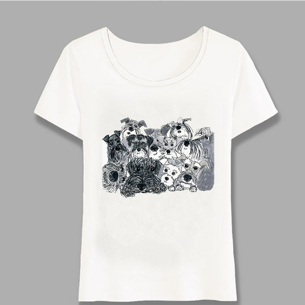Pencil Sketch Schnauzer Art T-Shirt for Women, Funny Abstract Print