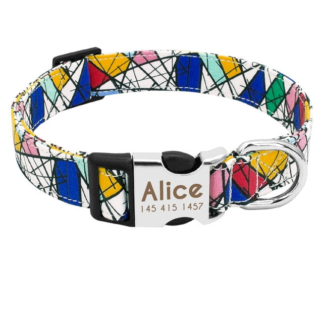 Personalized Nylon Dog Collar w/Engrave ID Name Tag