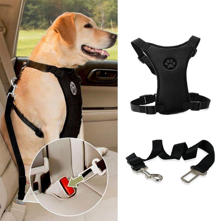 Breathable Mesh Dog Harness / Leash With Adjustable Straps for Car Seat Safety Belt