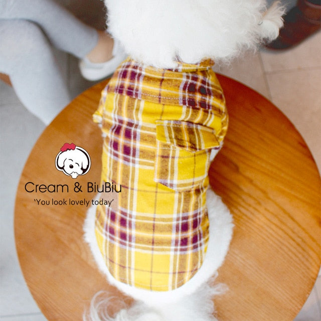 Cotton Breathable Plaid Shirt Owner and Puppy Matching Clothes