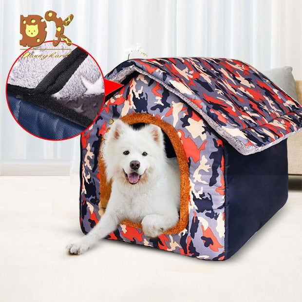 Plus Size Dog Bed - Hawaiian Style with Warm Pet Bed Mat