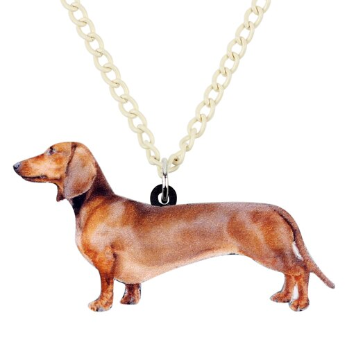 Acrylic Standing Dachshund Dog Necklace Pendant  with Chain