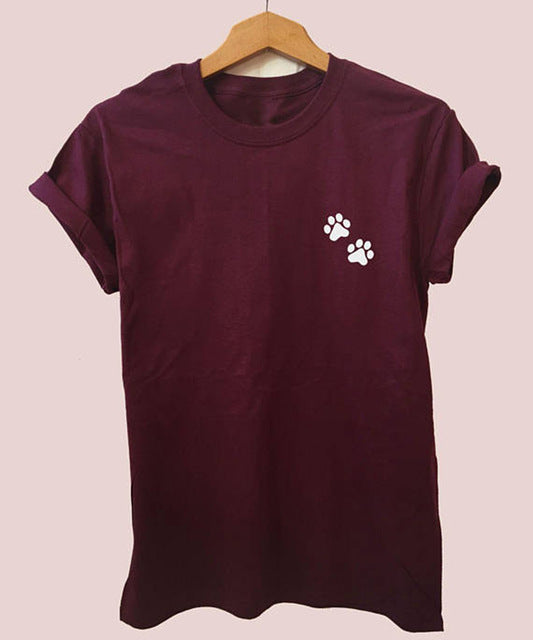 Dog Feet T Shirt, Women Dog T Shirt  in Burgundy