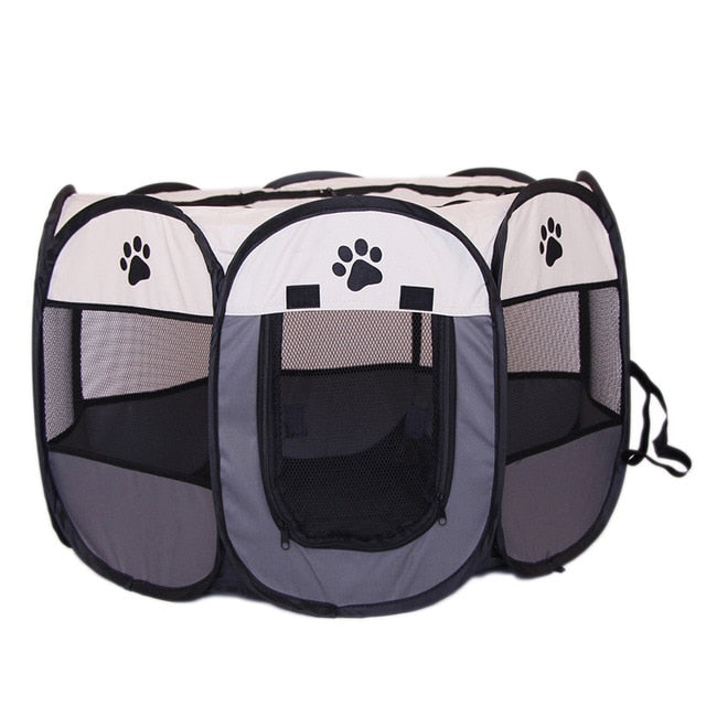 Pet Folding Fence Crate made of Oxford Cloth, Dog / Cat Kennel  Puppy Playpen & Exercise Cage