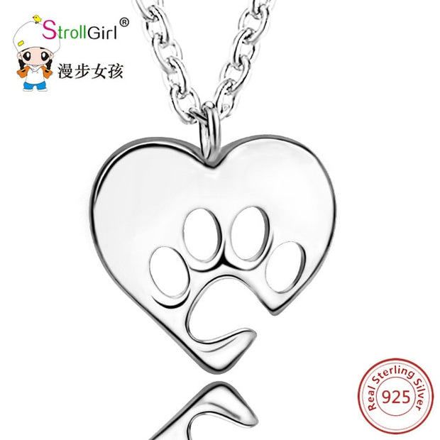 100% 925 Sterling Silver Dog Paw Heart Necklaces