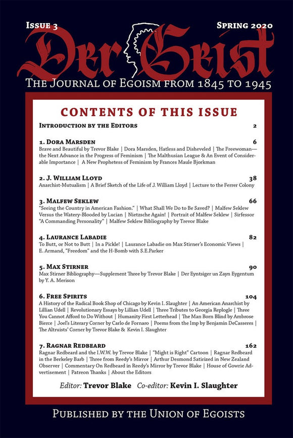 Der Geist: The Journal of Egoism from 1845 to 1945  | Issue 3