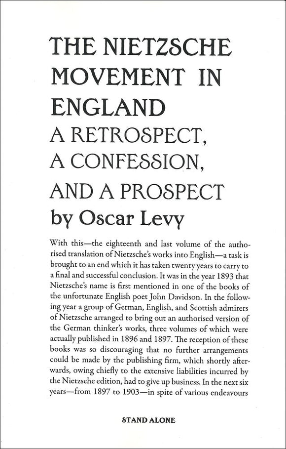 SA1095 | The Nietzsche Movement in England | Oscar Levy | Ltd. Ed. 66
