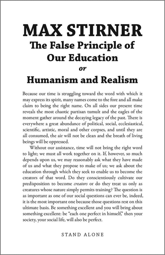 SA1130 | The False Principle of Our Education | Max Stirner | Ltd.Ed.66