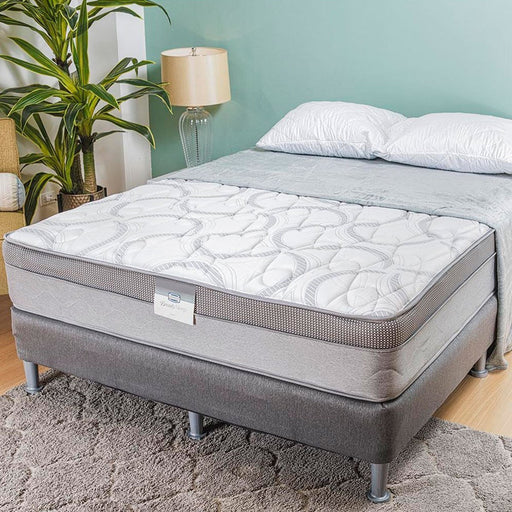 Colchón Full 1.37 Beauty Sleep Caitlyn Firm Circular Knit Blanco/gris Ortopédico