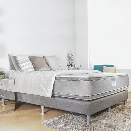 Colchón Full 1.37 Beauty Sleep Sun Valley Lxf Circular Knit Blanco/gris Ortopédico