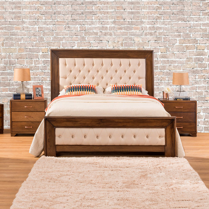Cama King Ferro Beige, Natural Oscuro