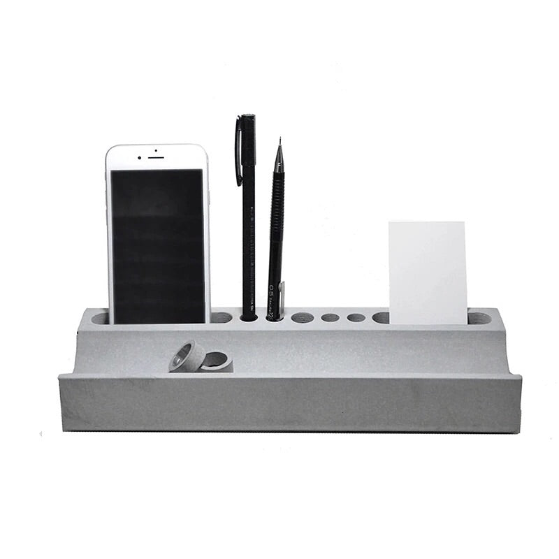 Large concrete desk organizer