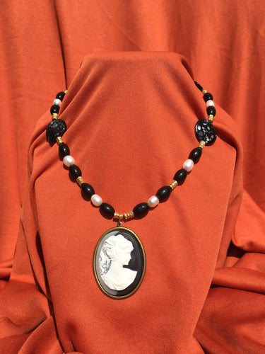 Black & White Cameo Necklace