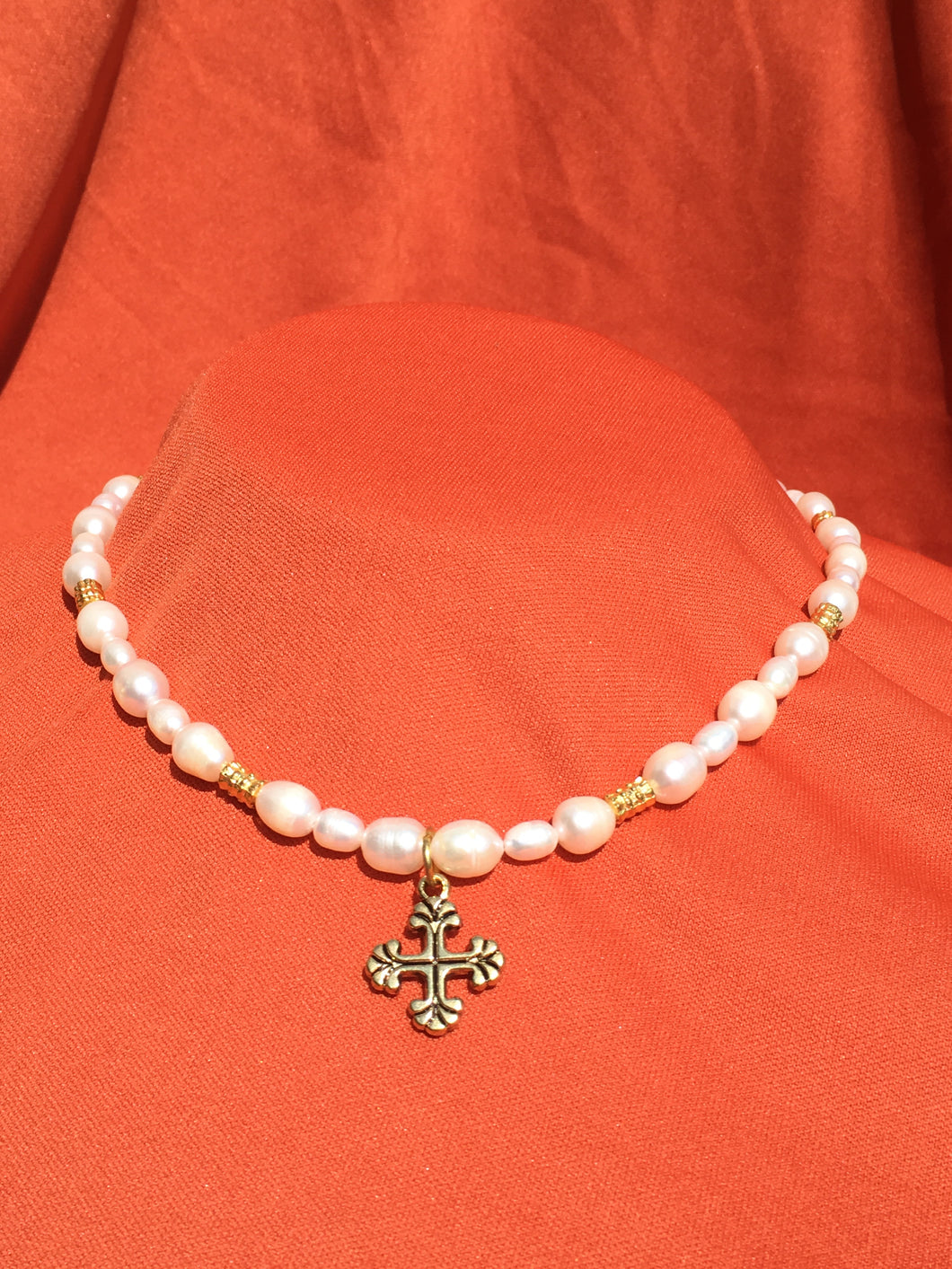 Renaissance Pearl Cross Necklace