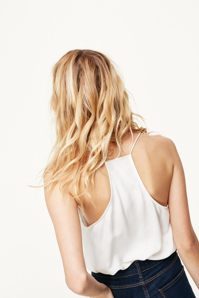 Cami NYC White Racer Top