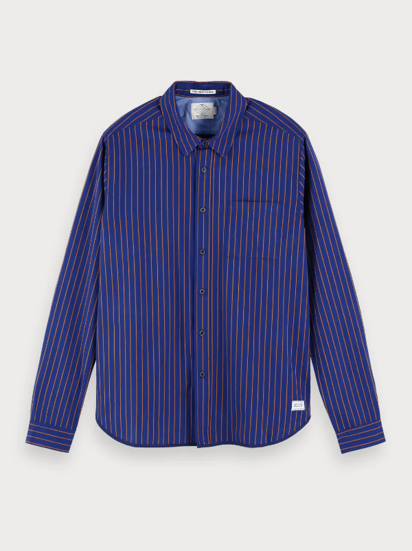 Scotch & Soda Stripe Blauw Oxford Shirt