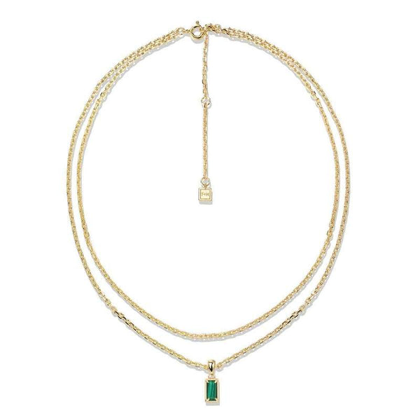 F+H Gold Malachite Stevie Double Chain Necklace