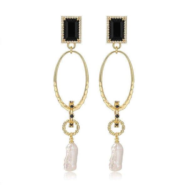 F+H Onyx Drama Gemstone Earrings