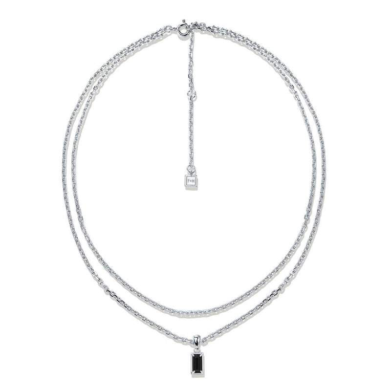 F+H Silver Onyx Stevie Double Chain Necklace