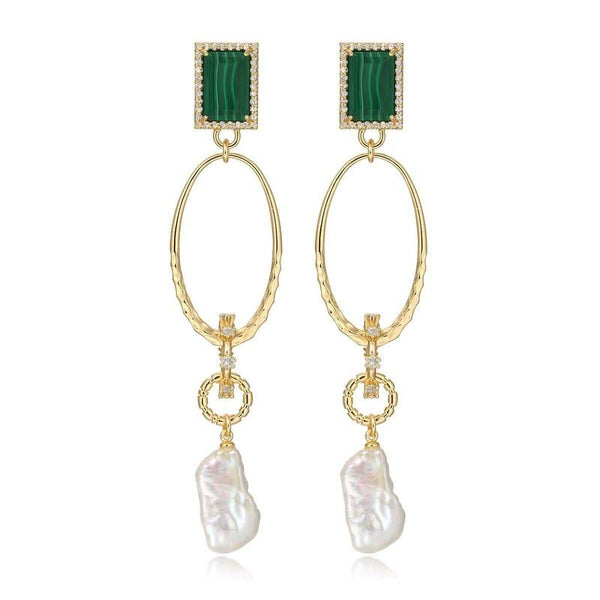 F+H Malachite Drama Gemstone Earrings