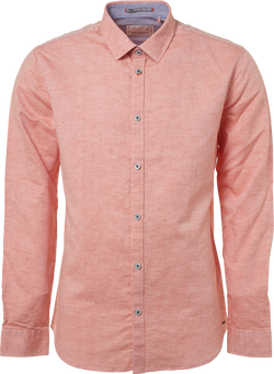 No Excess Coral Linen Blend Shirt
