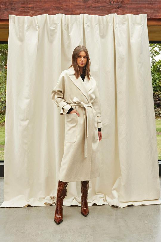 Caitlin Crisp Ivory Long In The Loop Coat