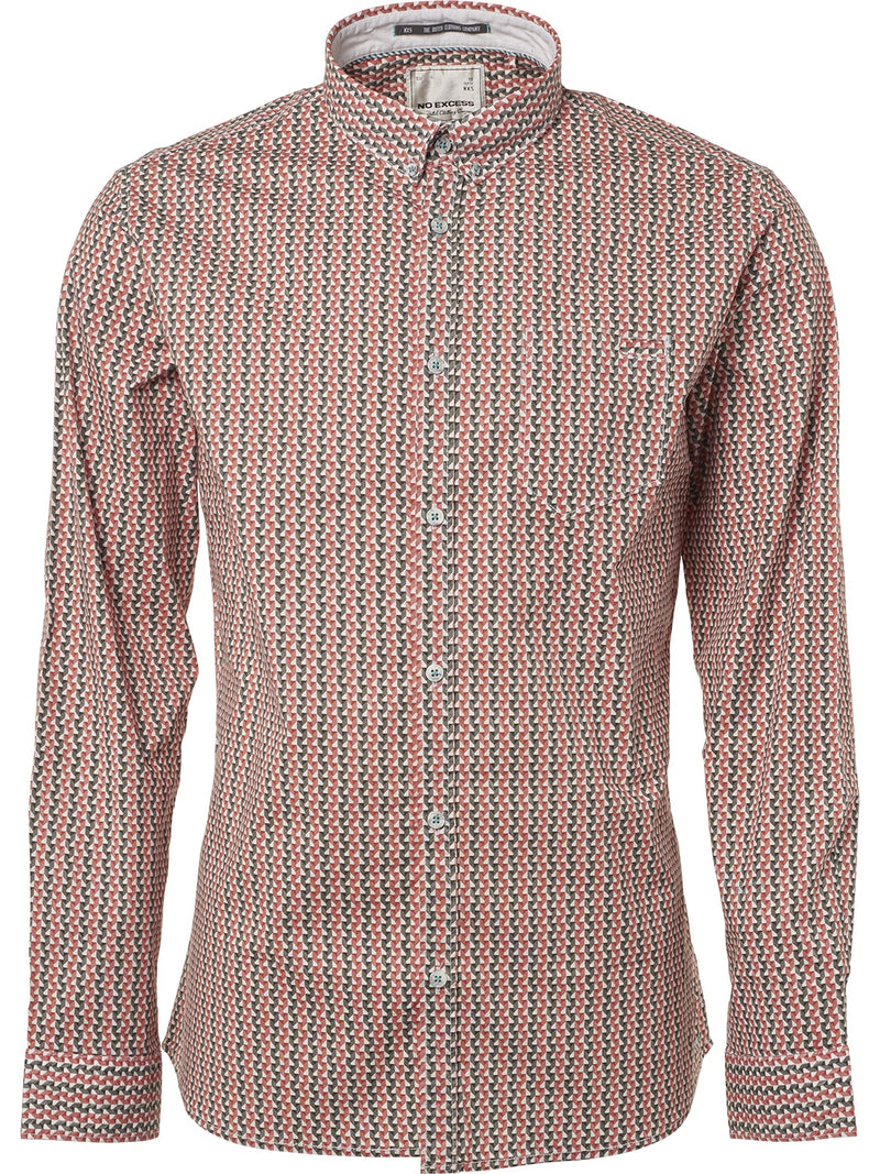 No Excess Brick Print Stretch Shirt