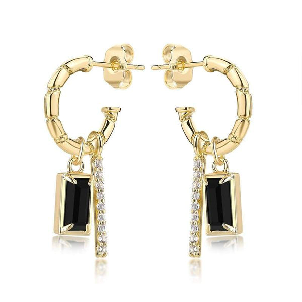 F+H Onyx Madonna Charm Earrings