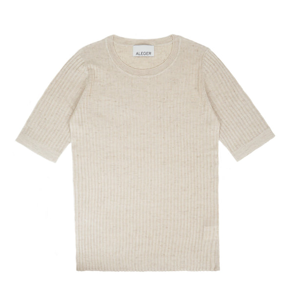 Aleger Ribbed Silk Linen Knit Top