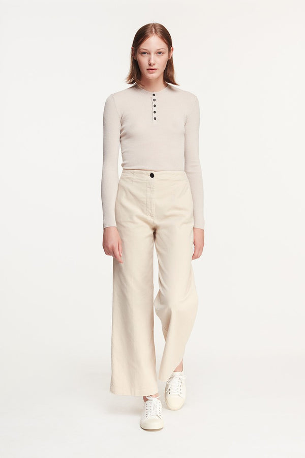 Pomandere Cream Wide Leg Trouser