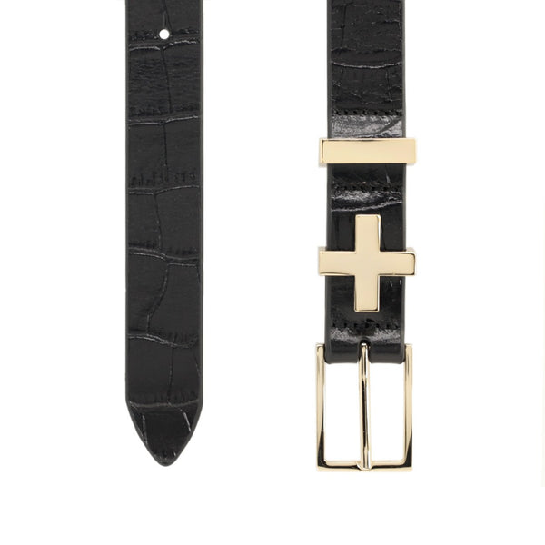 Dylan Kain Gold Croc Brooklyn Belt