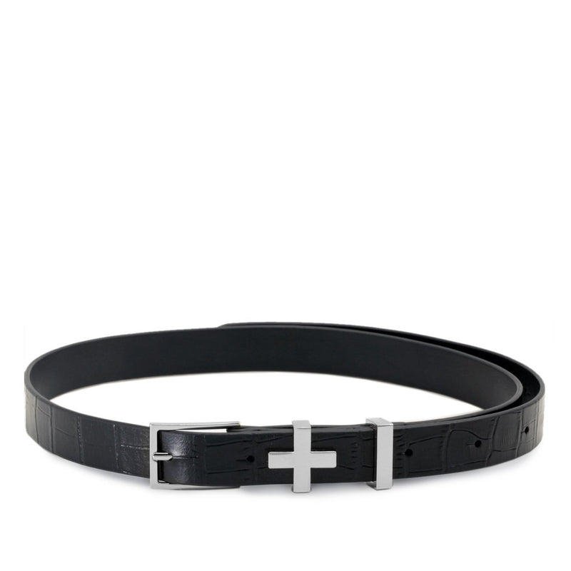 Dylan Kain Silver Croc Brooklyn Belt