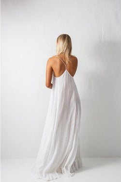 Bird & Knoll Gold Stripe Karolina Maxi Dress