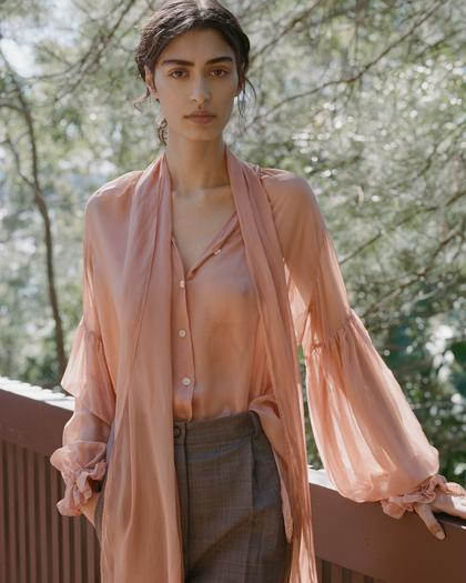 Mahsa Dusty Rose Silk Voile Bow Blouse