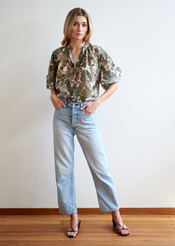 Mahsa Leaf Print Everyday Blouse