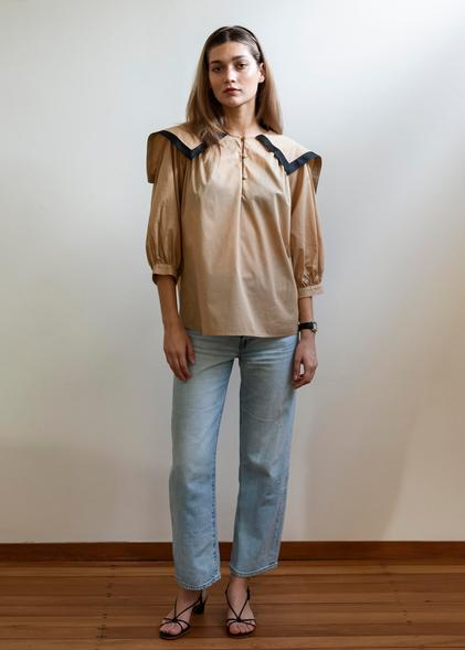 Mahsa Camel Black Sailor Blouse