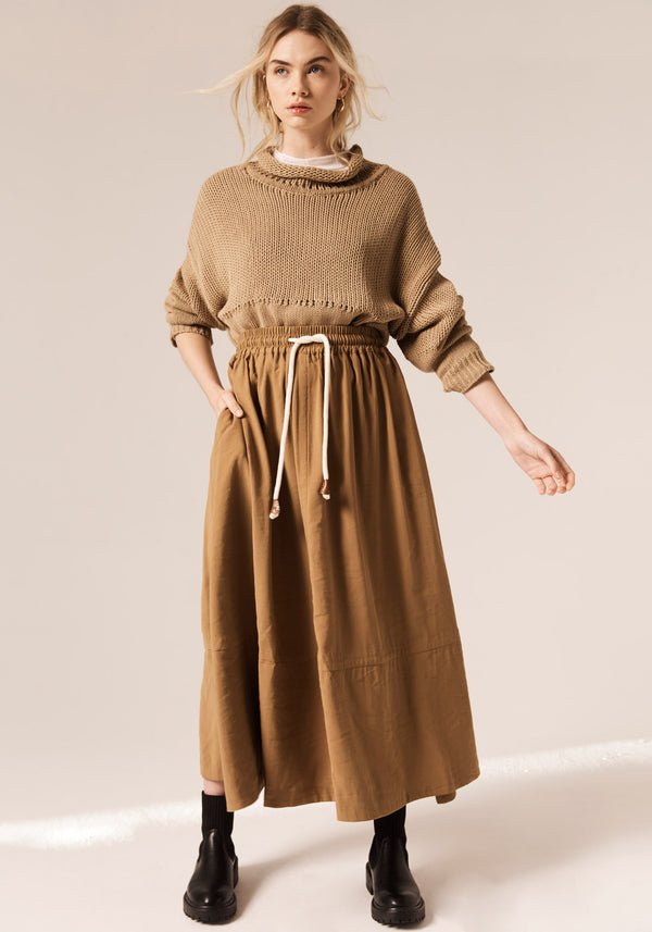 Pol Toffee Juniper Skirt