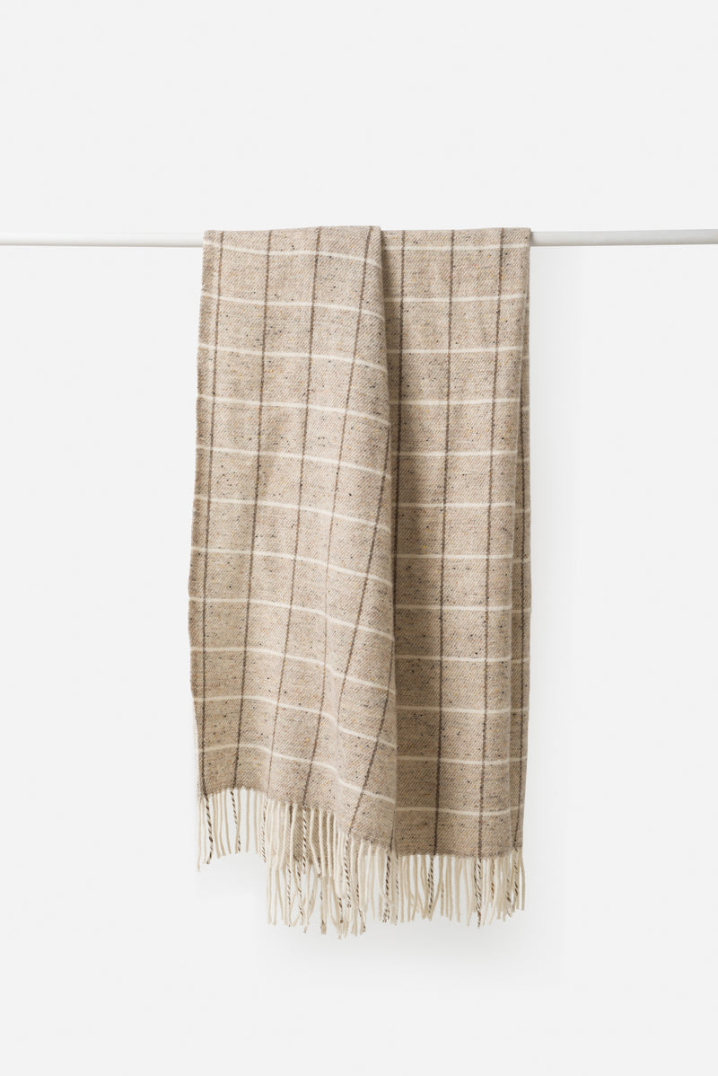 Città Zion Vanilla Grid Wool Throw w/ Fringe