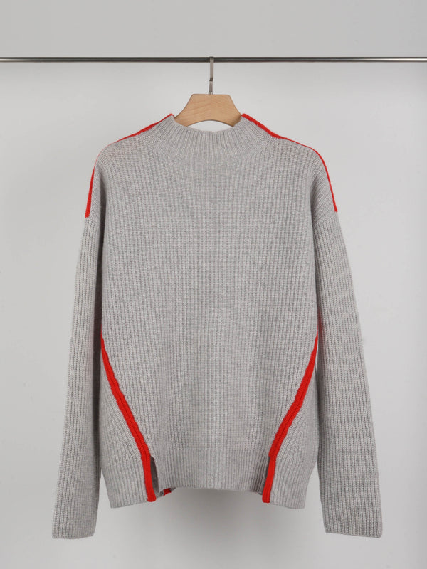 Aleger Grey Rouge Ribbed Knit