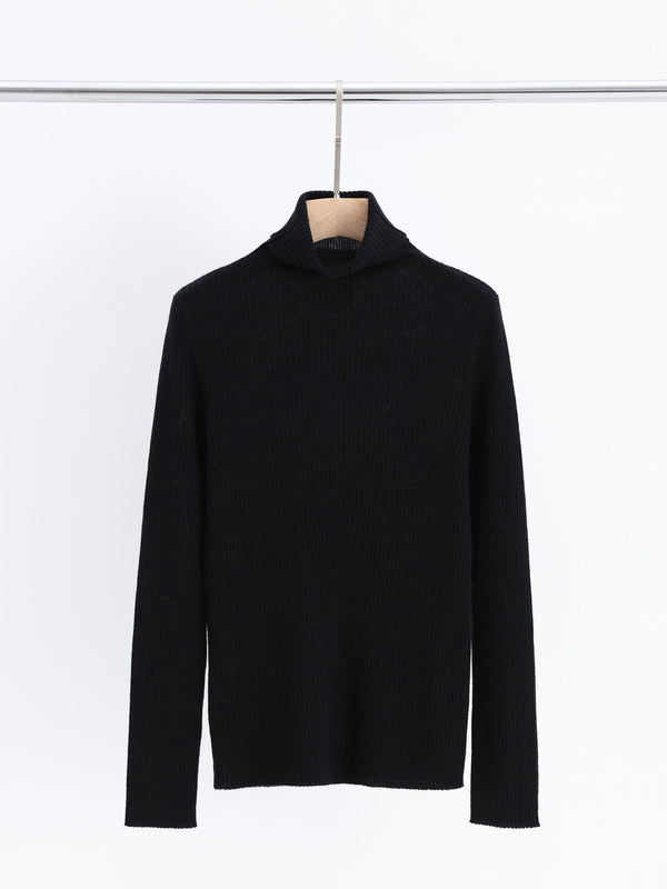 Aleger Black Skinny Rib Polo Neck Sweater