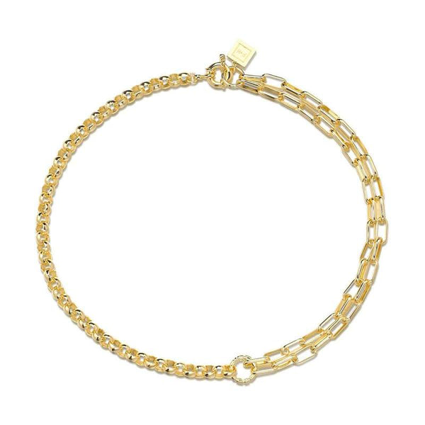 F+H Gold Slash double Chain Necklace