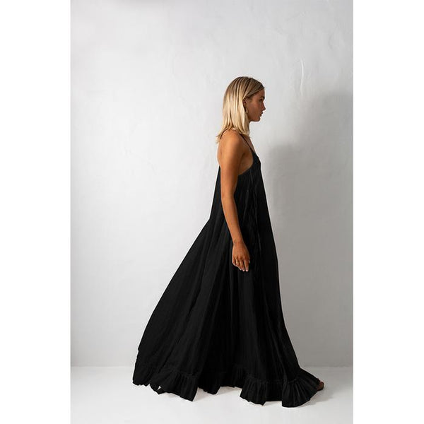 Bird & Knoll Black Silk Karolina Maxi Dress