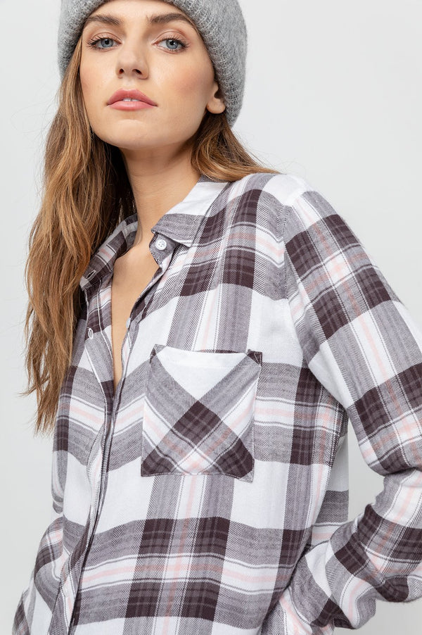 Rails White Grey Peach Hunter Shirt