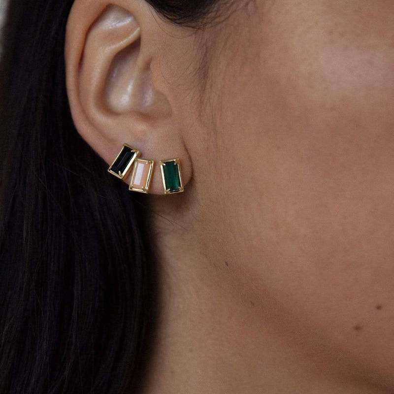 F+H Malachite Diana Gemstone Stud Earrings