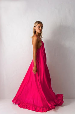 Bird & Knoll Hot Pink Silk Karolina Maxi Dress