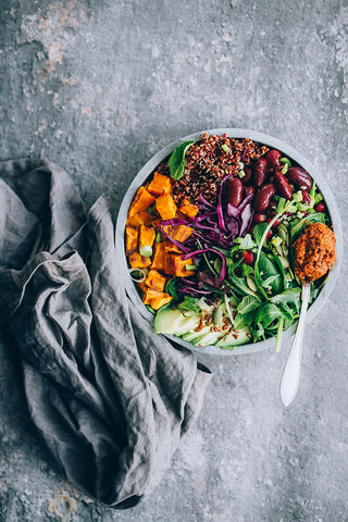 1 can cooked red kidney beans, 1/2 cup red quinoa cooked, 1 cup red cabbage sauerkraut, 1 avocado, 1 cup fresh greens mix ( arugula, spinach, chard, fresh mint), 2 medium sweet potatoes cubed, 2tsp coconut oil, 1 tsp smoked paprika powder, 2 tbsp lemon juice, 1/2 pomegranate (seeds only). For the Sun-dried tomato dressing:  6 sundried tomatoes, 5-6 basil leaves, 1 tsp nutritional yeast, 1tbsp extra virgin olive oil, 2 garlic cloves, 1/2 tsp grated ginger, 1/2 small shallot, 1tbsp apple cider vinegar, 1 tsp turmeric, 1/2 tsp cayenne,