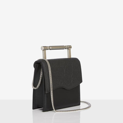 Black Vegan Bag with Metal Handle