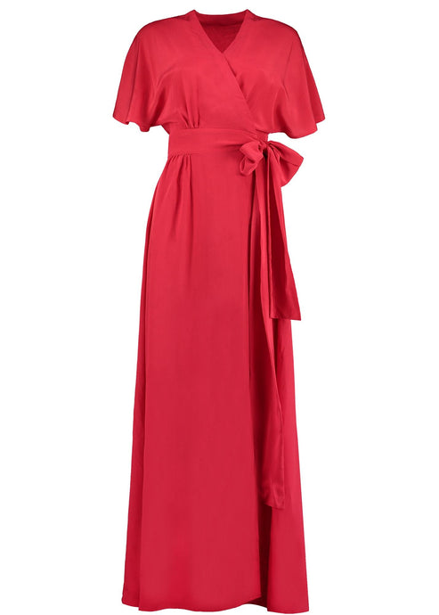 Wrap Red Silk Dress Maxi, Natural x Lab, Reve en Vert, Match Fahsion, Net a Porter, Maimie